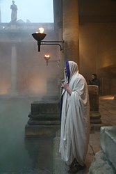 Roman priest next to the hot baths