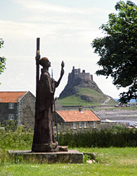 Lindisfarne or Holy Island. St Aiden and Lindisfarne Castle